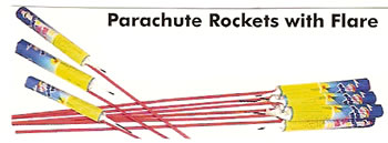 Parachute Rocket with Flare - 6 pack